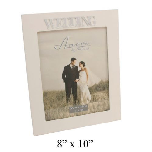 Wedding Photo Frame 8 x 10 - Cream Wooden Photo Frame For Wedding Picture with Mirrored Letters